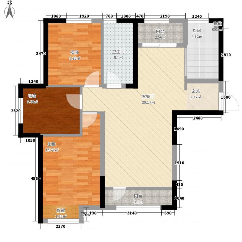 葵英九�3室1厅1卫1厨115.00㎡户型图