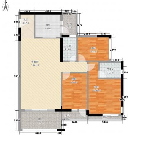 缤城乐家3室1厅2卫1厨125.00㎡户型图