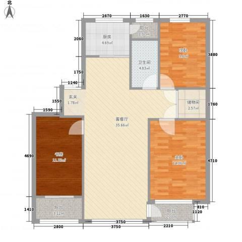 林韵春天3室1厅1卫1厨124.00㎡户型图