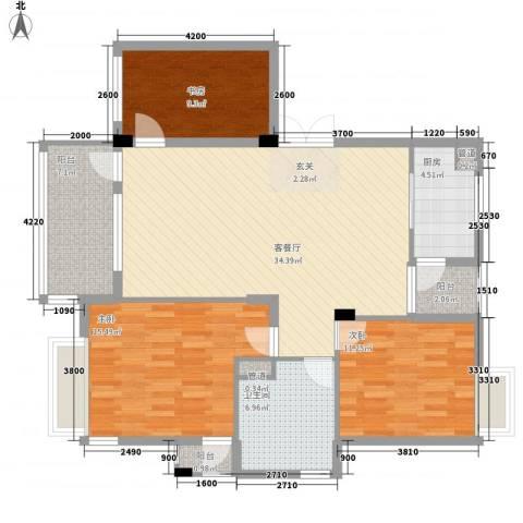 腾龙大厦3室1厅1卫1厨114.00㎡户型图