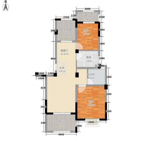 江南水岸2室1厅1卫1厨123.00㎡户型图