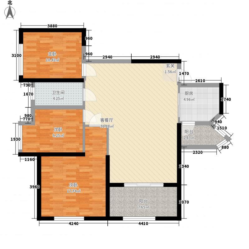 旺东国际广场12.00㎡G户型3室2厅2卫1厨