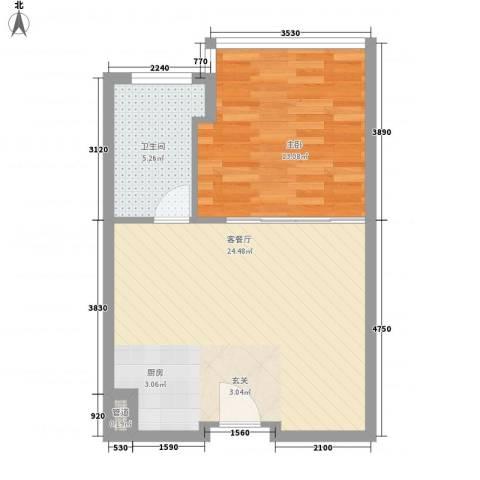 第一国际1室1厅1卫0厨60.00㎡户型图
