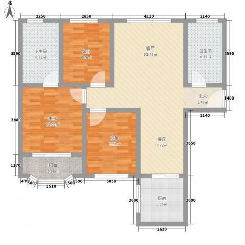 盛大广场3室1厅2卫1厨123.00㎡户型图