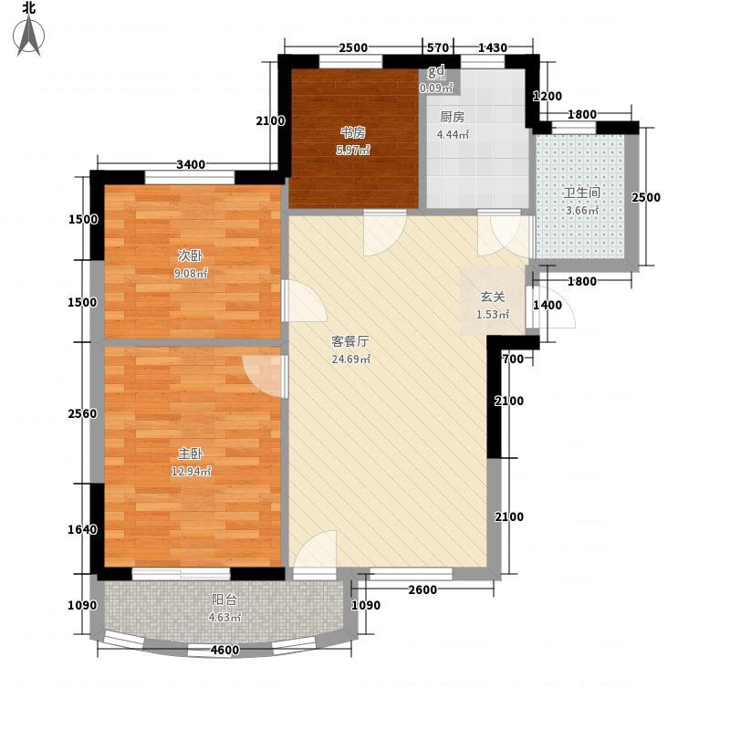航天花园三期户型图户型C 3室2厅1卫