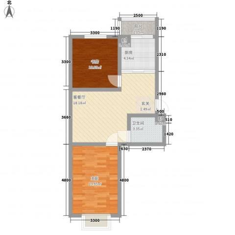 四季嘉园2室1厅1卫1厨70.00㎡户型图