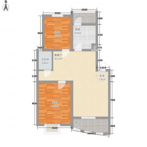 天惠爱丁堡公馆2室1厅1卫1厨69.22㎡户型图