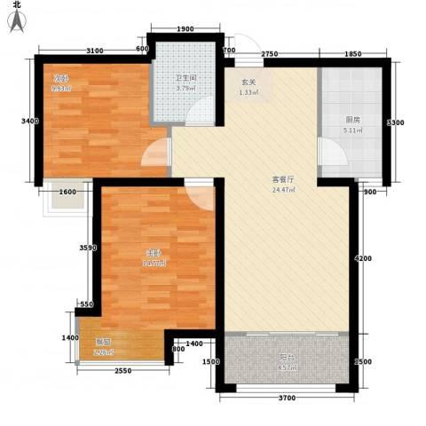 进化街住宅2室1厅1卫1厨89.00㎡户型图