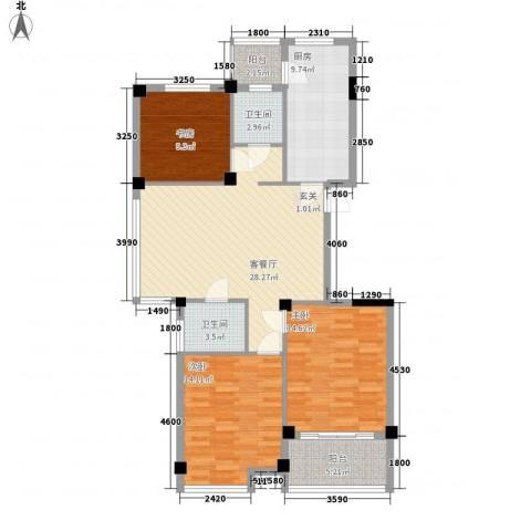 天赐佳园3室1厅2卫1厨118.00㎡户型图