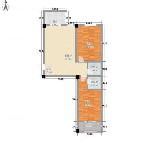 百盛朗庭2室1厅2卫1厨109.00㎡户型图