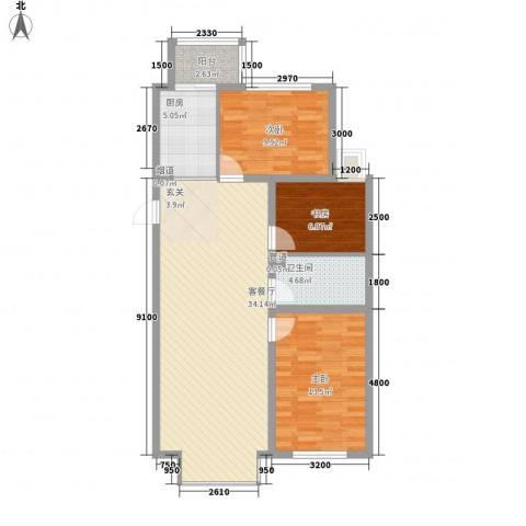 新城雅苑二期3室1厅1卫1厨108.00㎡户型图