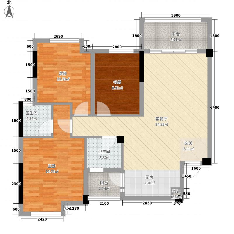 兴进上誉3室1厅2卫0厨84.77㎡户型图
