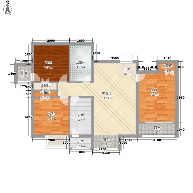 学府・未来城3室1厅1卫2厨65.99㎡户型图