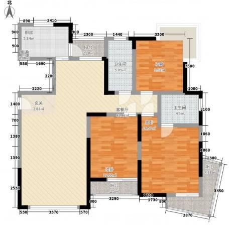 鲁能・三亚湾美丽MALL3室1厅2卫1厨105.90㎡户型图