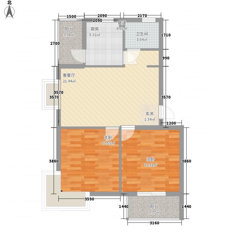 广厦怡庭66.00㎡户型2室