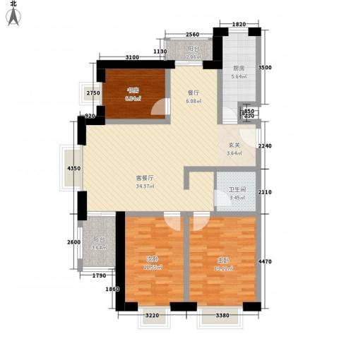 春城国际3室1厅1卫1厨111.00㎡户型图