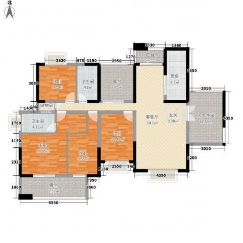 漪汾桥西国土资源厅宿舍4室1厅2卫1厨183.00㎡户型图