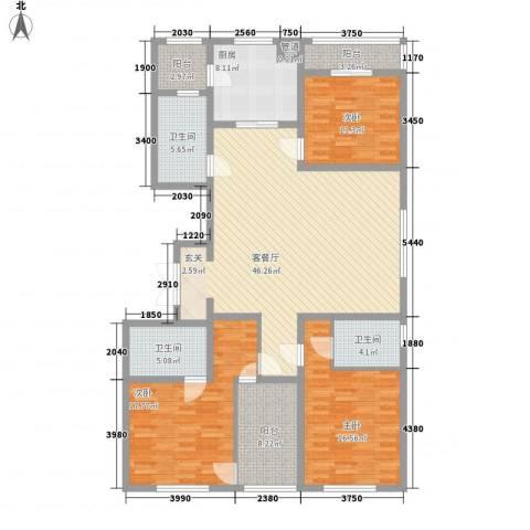 丽水阳光世纪城3室1厅3卫1厨186.00㎡户型图