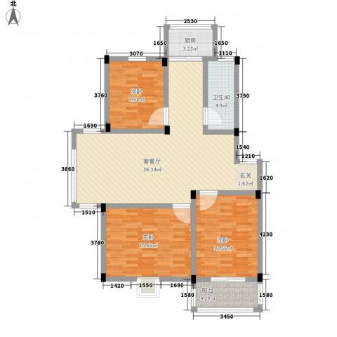 谷阳新村四区3室1厅1卫1厨126.00㎡户型图