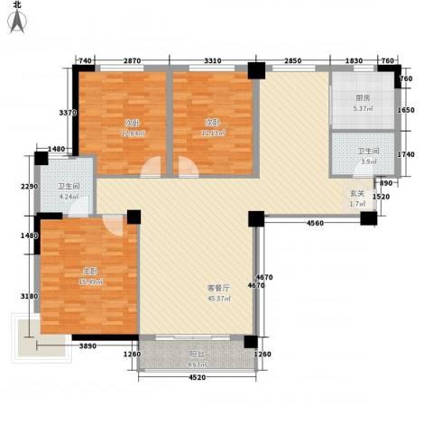 在水一方3室1厅2卫1厨146.00㎡户型图