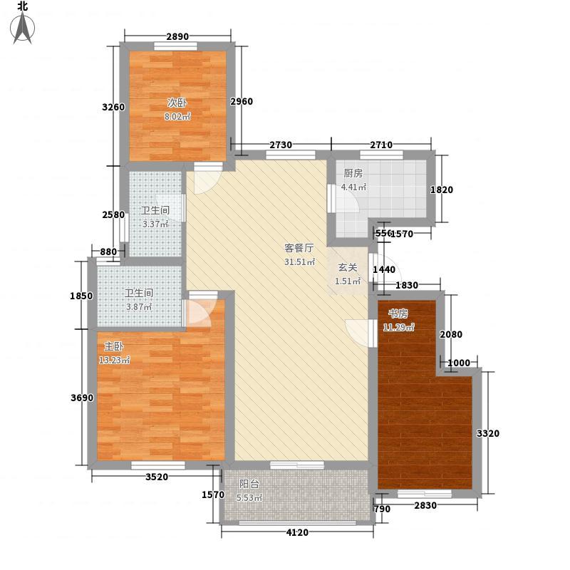 大溪谷3室1厅2卫1厨116.00㎡户型图