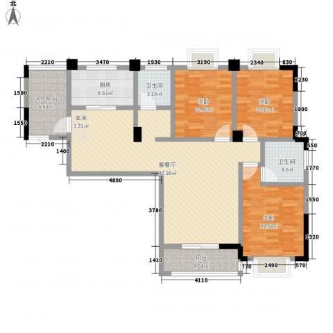秦水名邸3室1厅2卫1厨138.00㎡户型图