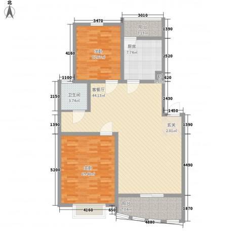 天惠爱丁堡公馆2室1厅1卫1厨98.08㎡户型图