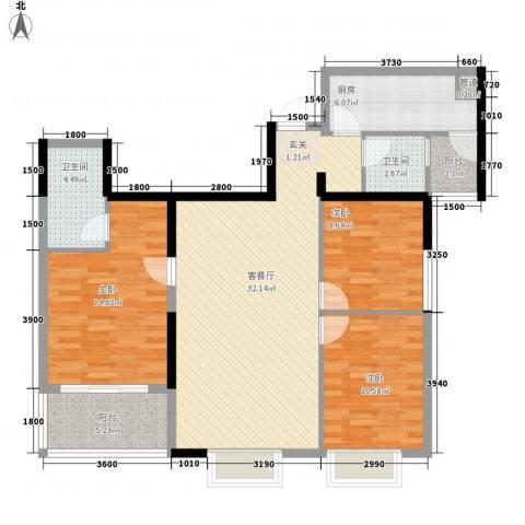泰和大厦3室1厅2卫1厨123.00㎡户型图