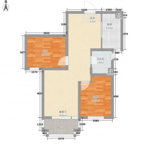 金域仕家2室1厅1卫1厨90.00㎡户型图