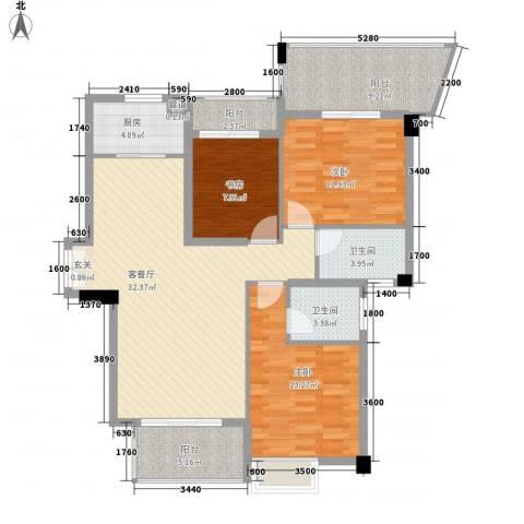 特房五缘尊府3室1厅2卫1厨123.00㎡户型图