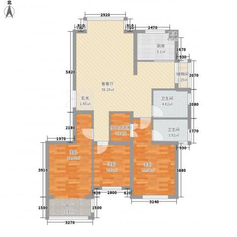 金域仕家3室1厅2卫1厨133.00㎡户型图