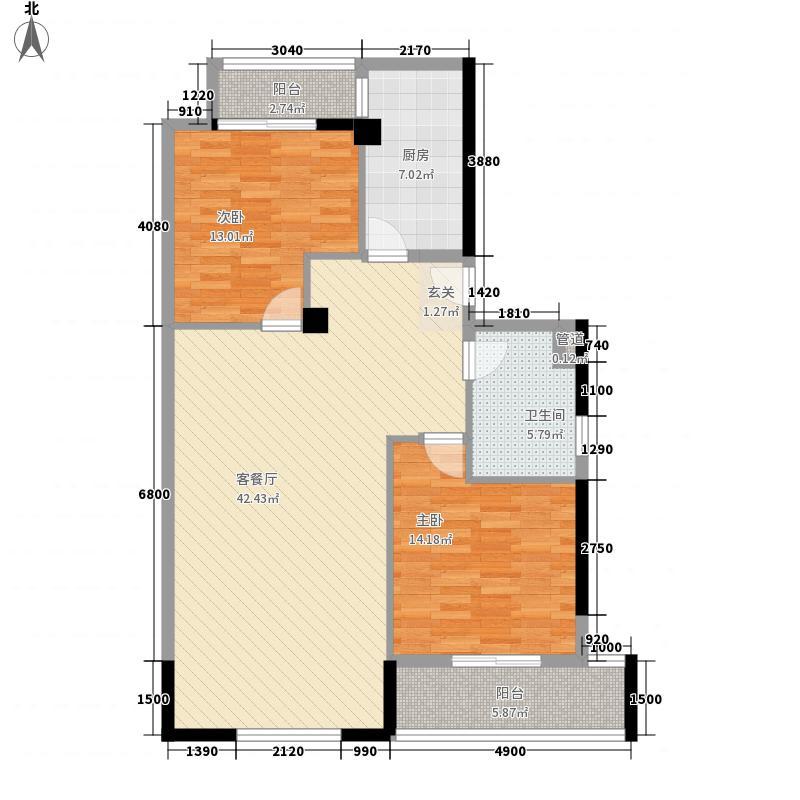 百合园70.00㎡百合园2室户型2室
