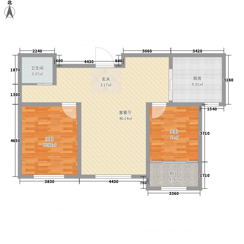 青云丹桂园4.00㎡一期A1户型2室2厅1卫
