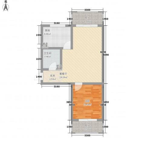 花漾山1室1厅1卫1厨77.00㎡户型图