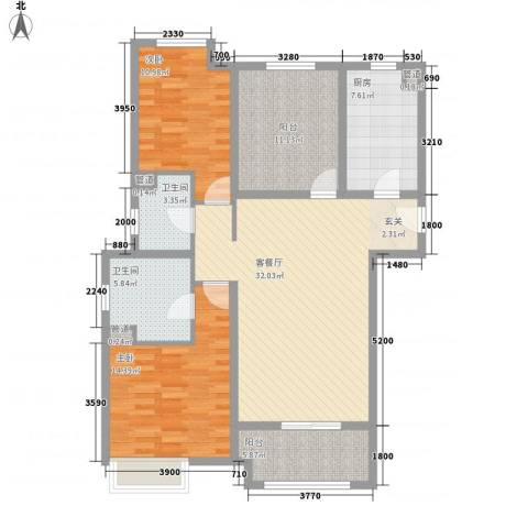 恒茂国际都会2室1厅2卫1厨123.00㎡户型图