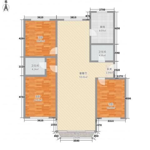鹿鸣苑3室1厅2卫1厨162.00㎡户型图