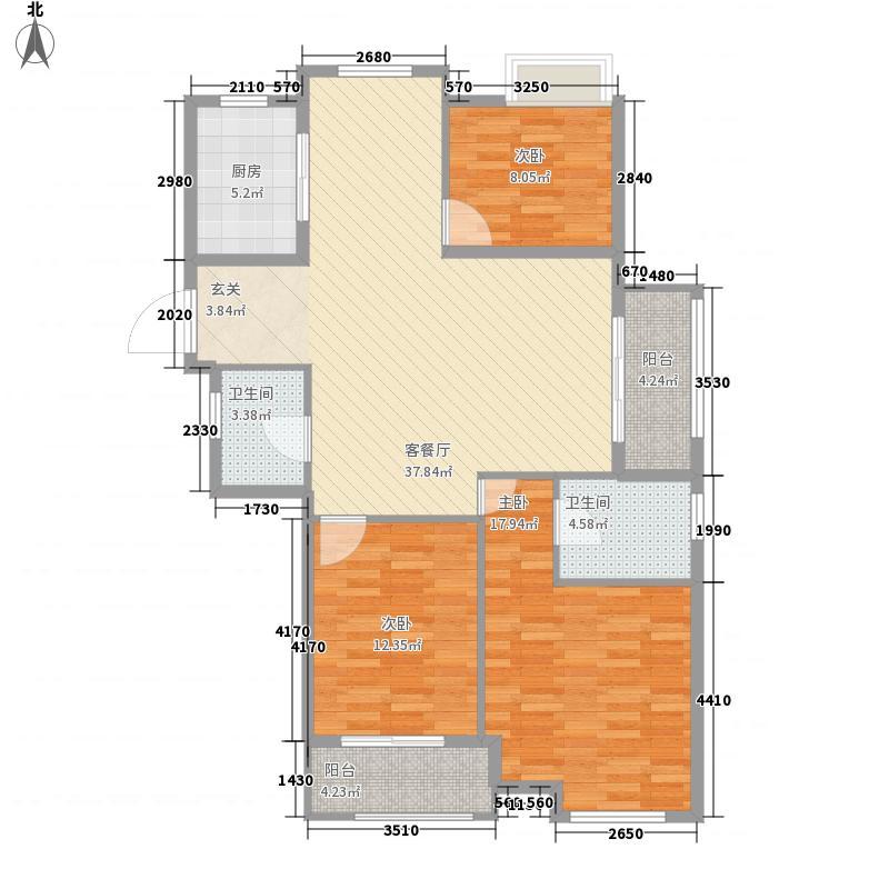 恒海金湾136.00㎡F户型3室2厅2卫1厨