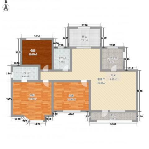美域澜苑3室1厅2卫1厨151.00㎡户型图