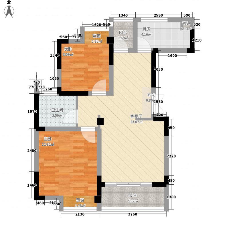 星汇名邸86.00㎡A2户型2室2厅1卫1厨