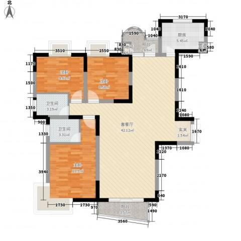 金星家园3室1厅2卫1厨134.00㎡户型图