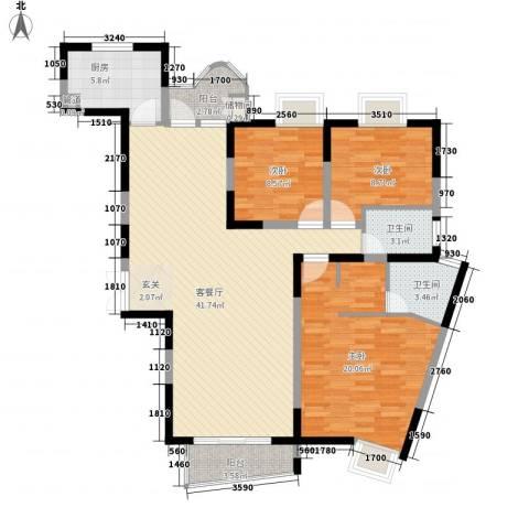金星家园3室1厅2卫1厨139.00㎡户型图