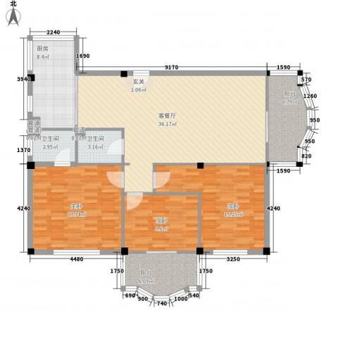 福满园3室1厅2卫1厨146.00㎡户型图