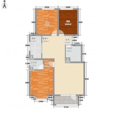 晨曦家园3室1厅2卫1厨87.98㎡户型图