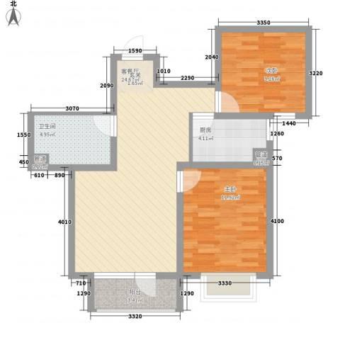 晨曦家园2室1厅1卫1厨58.59㎡户型图