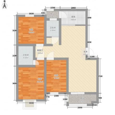 园东新村3室1厅2卫1厨95.00㎡户型图