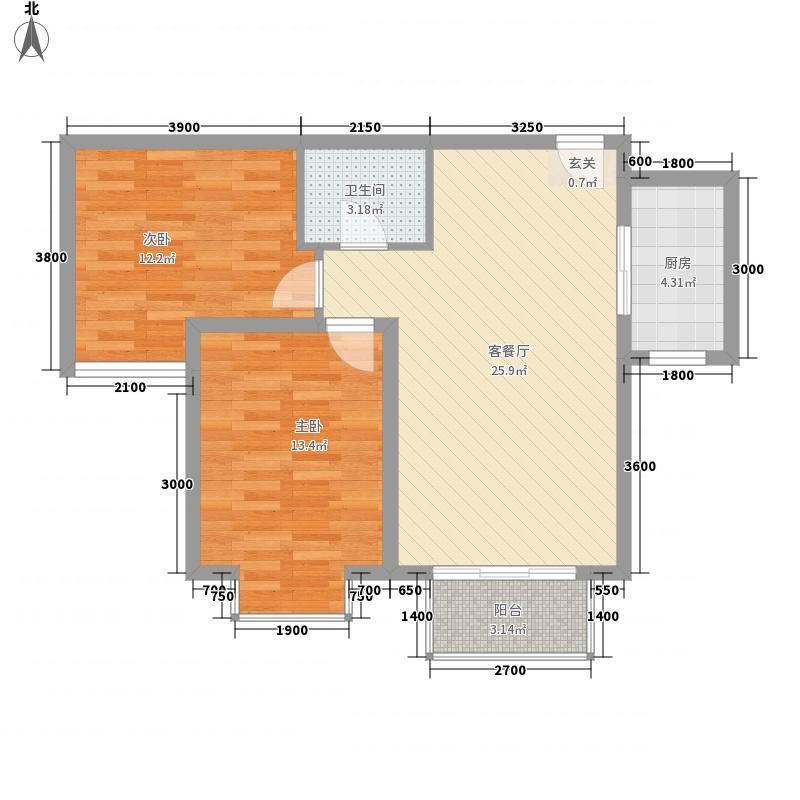 卓达香水海二期北欧小镇2室1厅1卫1厨88.00㎡户型图