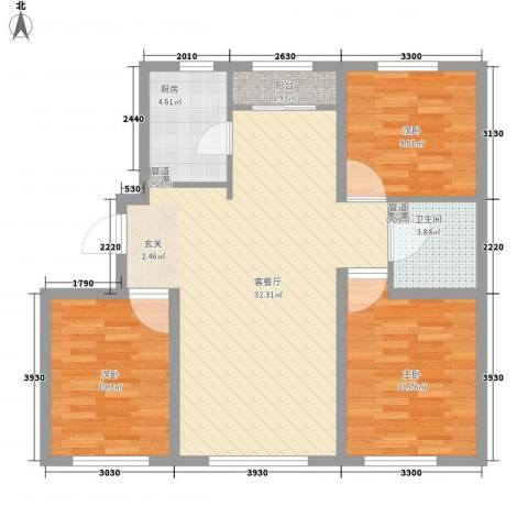 华润凯旋门3室1厅1卫1厨83.93㎡户型图