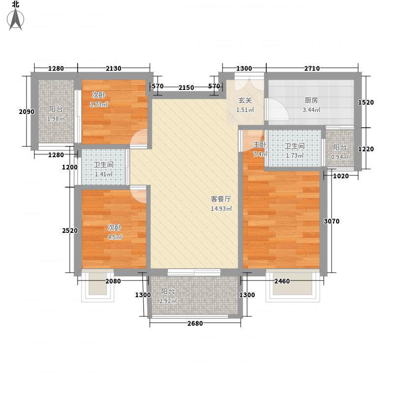 南波湾3室1厅2卫1厨62.00㎡户型图