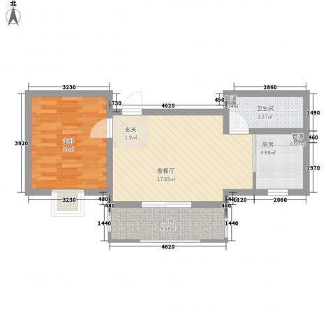 花漾山1室1厅1卫1厨61.00㎡户型图
