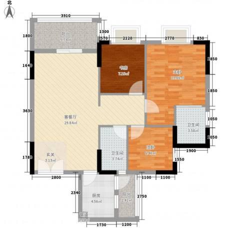 汇景银座3室1厅2卫1厨96.00㎡户型图